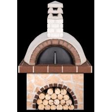 Παραδοσιακός ξυλόφουρνος, με πορώλιθο και καφέ πυρότουβλο