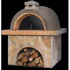 Παραδοσιακός φούρνος με ξύλα, ακανόνιστη κίτρινη πέτρα και πυρότουβλο