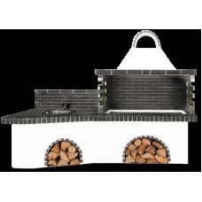 Μπάρμπεκιου κήπου σύνθεση με πάγκο – νεροχύτη, ψησταριά και μαύρο – γκρι πυρότουβλο