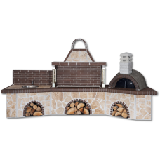 Μπάρμπεκιου κήπου με πάγκο – νεροχύτη, ψησταριά, παραδοσιακό φούρνο με ξύλα, με ακανόνιστο πoρόλιθο και καφέ πυρότουβλο