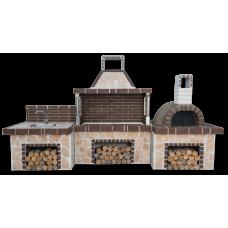 Μπάρμπεκιου κήπου – Ψησταριές κήπου set με παραδοσιακό ξυλόφουρνο και πάγκο – νεροχύτη, ακανόνιστο πορόλιθο και καφέ πυρότουβλο