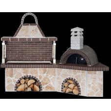 Μπάρμπεκιου κήπου σύνθεση – Gartengrill – ψησταριά με παραδοσιακό ξυλόφουρνο, ακανόνιστο πορόλιθο και καφέ πυρότουβλο
