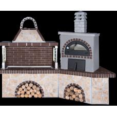 BBQ Set – Garten barbecue με ψησταριά,κυκλοθερμικός ξυλόφουρνος, με ακανόνιστο πoρόλιθο και καφέ πυρότουβλο