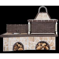 Μπάρμπεκιου κήπου σύνθεση – Garten barbecue με πάγκο – νεροχύτη, ακανόνιστο πορόλιθο και καφέ πυρότουβλο