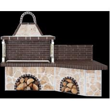 BBQ Set – Garten barbecue με πάγκο, ψησταριά με ακανόνιστο πoρόλιθο και καφέ πυρότουβλο