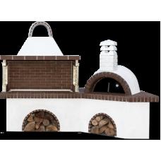 Barbecue set (bbq) – Μπάρμπεκιου σετ με παραδοσιακό ξυλόφουρνο και καφέ πυρότουβλο