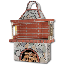 Mπάρμπεκιου κήπου – Χτιστά Mπάρμπεκιου με πέτρα καρύστου, μαύρο αρμό και κόκκινο πυρότουβλο