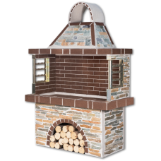 Μπάρμπεκιου κήπου – Ψησταριές κήπου με στενάρι καρύστου και καφέ πυρότουβλο