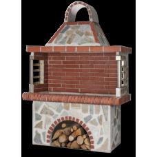 Ψησταριά χτιστή με ακανόνιστη πέτρα και κόκκινο πυρότουβλο