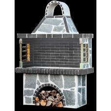 Ψησταριά κήπου – Grill garden με πέτρα καβάλας, με μαύρο – γκρι πυρότουβλο
