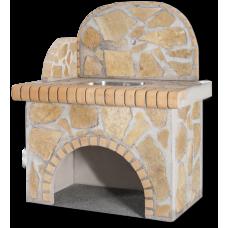Βρύση – Πάγκος: Με κίτρινη πέτρα και κίτρινο τούβλο