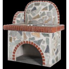 Βρύση – Πάγκος: Με ακανόνιστη πέτρα Καρύστου και κόκκινο τούβλο